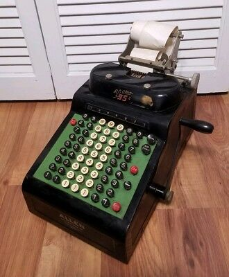 Antique / Vintage RC Allen adding machine model 95 Needs Work Manual Metal
