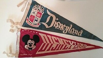 Lot of 2 Vintage 1950s Disneyland The Magic Kingdom & Mickey Mouse Pennants