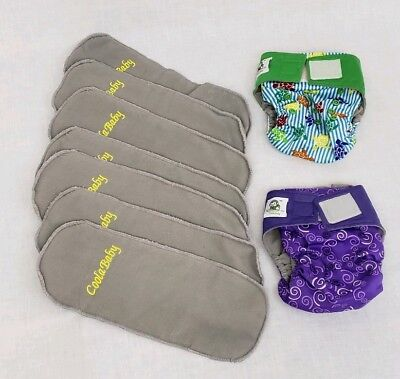 CoolaBaby Cloth Diapers OS One Size Hook and Loop Charcoal Inserts Lot