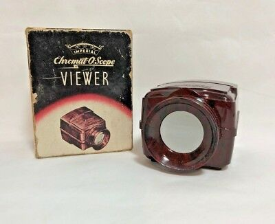 Vintage 1945 Imperial Chromat-O-Scope Slide and Strip Film Viewer with Orig Box