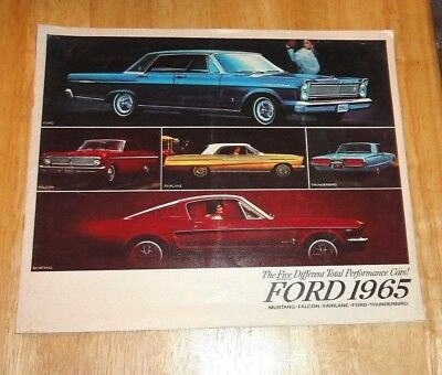 1965 Ford Advertising Brochure With Mustang Fairlane Galaxie Thunderbird Falcon