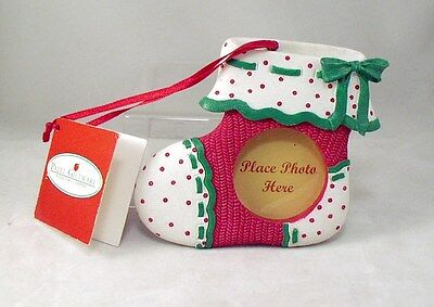 New Resin Christmas Ornament Mini Photo Frame Red Green & White Baby Bootie Sock