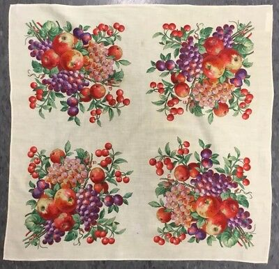 Vintage Cotton Table Topper Dresser Scarf Colorful Fruit Made Czechoslovakia