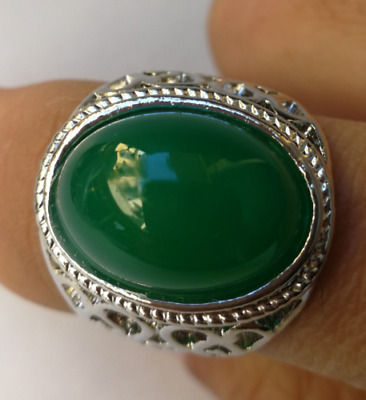 China Tibet silver inlaid emerald exquisite ring