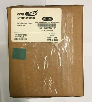 VWR 47729-578 CULTURE TUBES SIZE 16X125MM CASE/25 Contents 72/pk