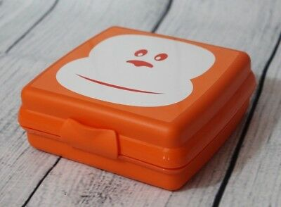 Tupperware Sandwich Keeper Monkey Face Design 1-pc Hinged Container Orange New