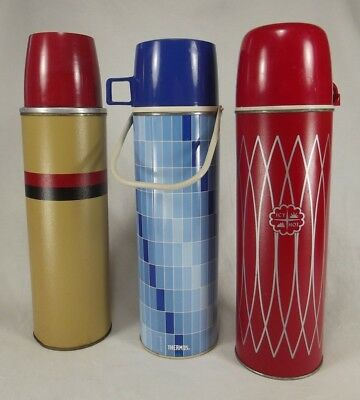 3 RETRO THERMOS LOT Bottle ICY HOT Red Blue Metal Flask VINTAGE 2410H B-34-QA