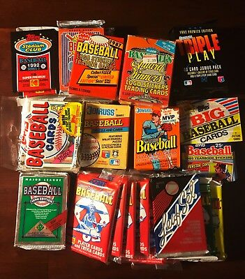 50 PACKS o' Baseball Cards - FREE SHIPPING - Vintage 30 Year Old Unopened LOT