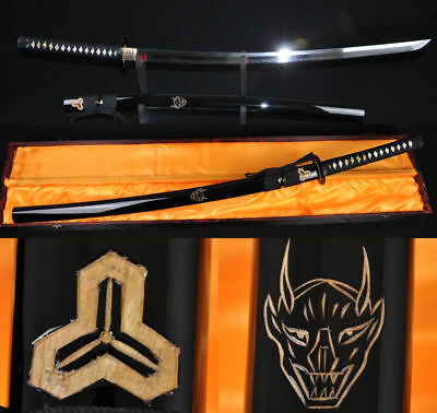 Japanese Samurai Katana Kill Bill FULL TANG Sword Clay Tempered Blade Iron Tsuba