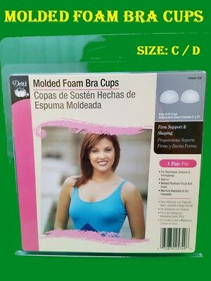 White Molded Foam Sew-In Bra Cups designed to Dressmaking /  Size:  Medium C / D