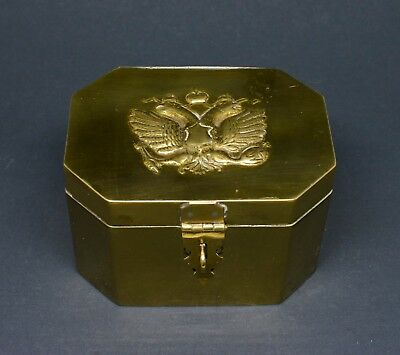 Antique Russian Imperial Brass Tea/ Tobacco Box  ~ 4 x 3 x 2.5 Inches ~