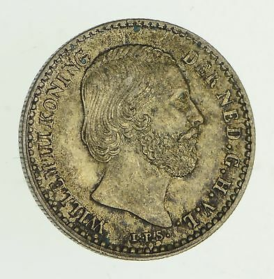 Roughly Size of Dime - 1879 Netherlands 10 Cents - World Silver Coin *357