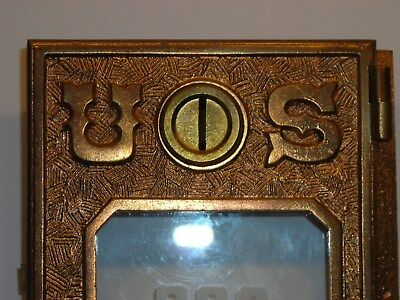 Antique Circa 1891 Post Office Door Vintage USPS Postal Mail Box P.O. Bank