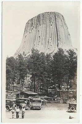 Devils Tower, Wyoming (WY) - RPPC View from Parking Area - 1930s