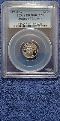 1998-W Platinum Eagle Statue of Liberty, $10 (1/10 Oz) PCGS PR70DCAM (31420690)