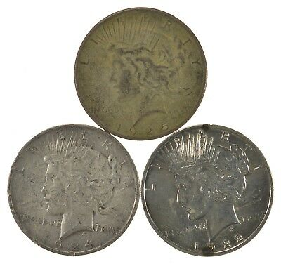Lot of 3 1924 1925 1922 Peace Silver Dollars 90% Silver US Coin Collection *519