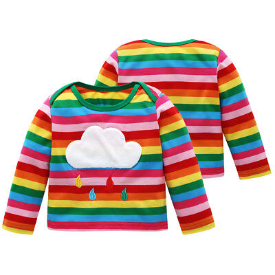 New Kids Children Toddler Cotton Blends Rainbow Striped Muiti-colored Casual Top