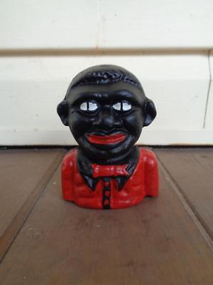Black Americana Cast Iron Money Coin Bank Embossed On The Back