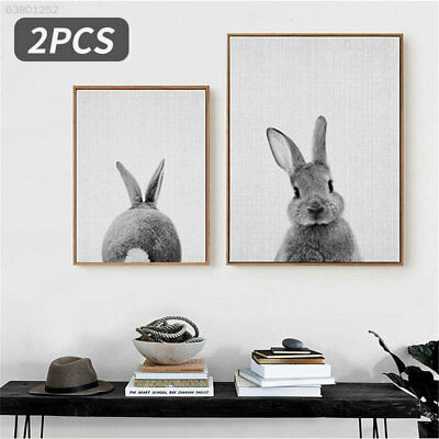 75C4 Cute Canvas Painting Oil Painting 2pcs Canvas Rabbit Pattern Wall Art