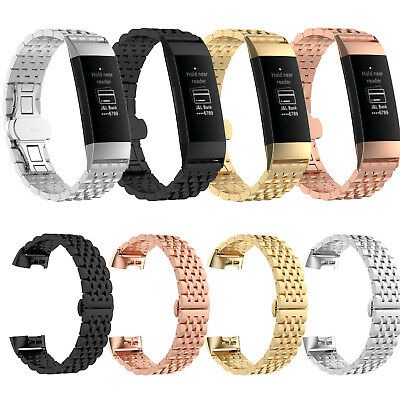 Stainless Steel Bracelet Watch Wrist Band Strap Link for Fitbit Charge 3 Tracker