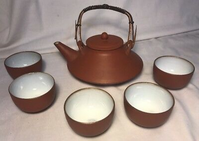 Vintage Japan/Chinese Sake/Tea Set Teapot/Kettle with 5 Cups-Marked-Quite Unique