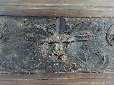 "ANTIQUE Vintage CARVED OAK LION FURNITURE PANEL plaque wall hanging,24"" X 9"""