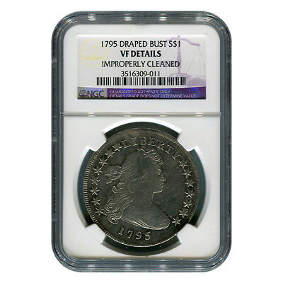 Certified Draped Bust Dollar 1795 VF Details (Improperly Cleaned) NGC
