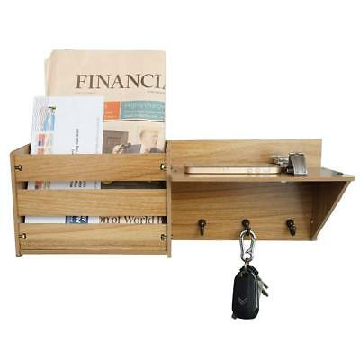 Wooden Mail Key Organizer Rack Letter Shelf Wall Mounted Entryway Hooks Storage
