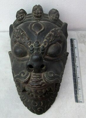 MAGNIFICENT 19th Century Tibet Tibetan Wood Shaman Exorcism Mask XL
