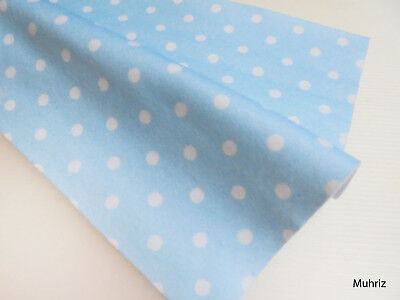 Daiso Japan HAND WASH PRINTED FELT 40x30CM BLUE POLKA DOTS WHITE CRAFT ART SHEET