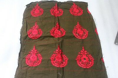 Vintage Embroidered Applique Accessories Cotton Hena Base Red Floral Fabric Ep35