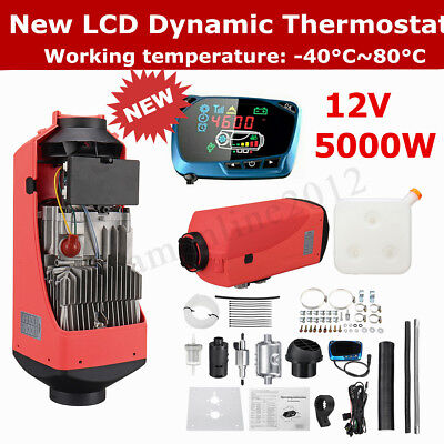 12V 5KW Diesel Air Heater New LCD Dynamic Thermostat 10L Tank For Truck Trailer