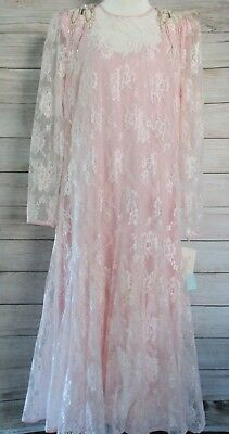 Miss Elliette Dress Size 16 Pink Lace Maxi Beaded Bridal MADE USA NWT $375 1990