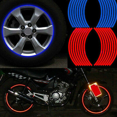 16 Strips Reflective Motorcycle Car Rim Blue Stripe Wheel Decal Tape Stickers