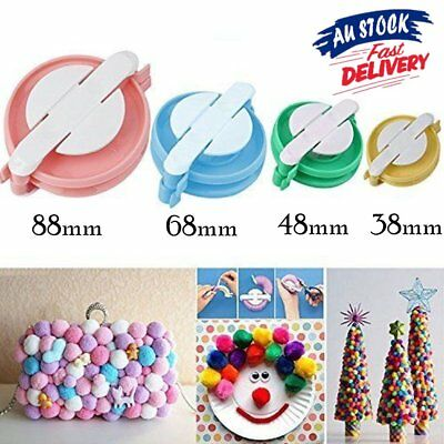 New 4 Sizes Pompom Maker Ball Weaver Needle Craft Knitting Loom Wool Tool TM