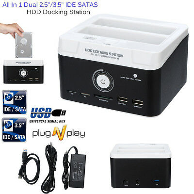 Dual 2.5 3.5 SATA IDE HDD Docking Station Hard Disk Drive Dock OTB Card Reader