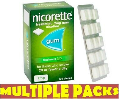 Nicorette Gum Freshmint 2mg Pack of 105 pieces 1 2 3 6 12  Packs LONG EXPIRY