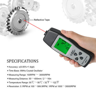Rotational digital laser tachometer speedometer photoelectric 100~30000 RPM test