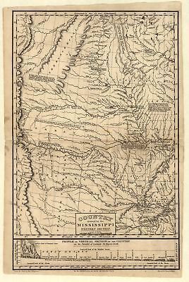 """16"""" x 24"""" 1823 Map Of A Country Drained By The Mississippi"""