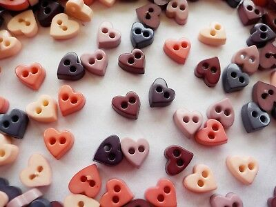 100! Tiny Craft Buttons: Natural Colour Heart Button Embellishments - 6mm Hearts