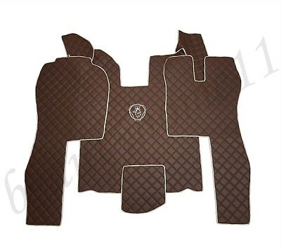 Set of RHD Floor Mats Cover For SCANIA R 2004-2013 AUTOMAT BROWN Eco Leather.