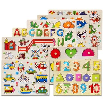 Wooden Animal Letter Puzzle Jigsaw Early Learning Educational Baby Kids Toys USA