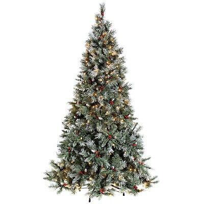 Pre-Lit Scandinavian Spruce Pine Cone and Berry Christmas Tree, 400 LED 7ft