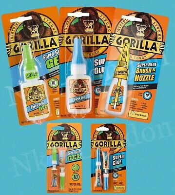 Gorilla Super Glue impact-Tough Gel Brush Nozzle Tube Strong Superglue Adhesive