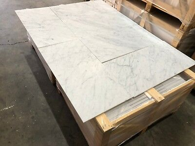 Bianco Carrara C Select Semi Polished Marble Tiles, Floor @ Wall 457X918X10MM
