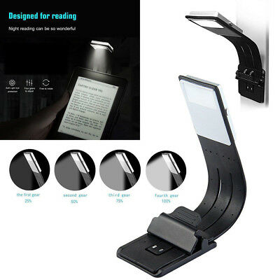 Reading Flexible UV Lamp Book Light Bendable PC With Clip 4-grade Rechargeable