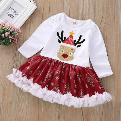 UK Newborn Toddler Baby Kid Girl Christmas Romper Dress Party Tutu Skirt Clothes