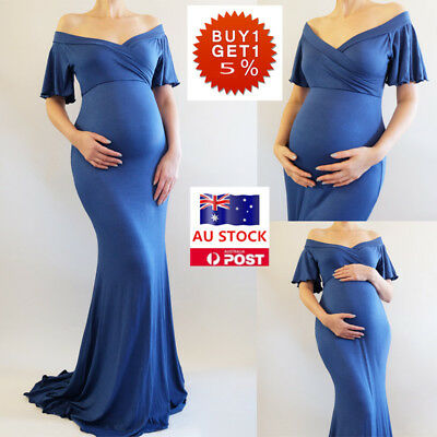 Pregnant Women Off Shoulder Short Sleeve Maxi Dress Maternity Gown Photography