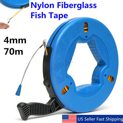 230ft Fiberglass Fish Tape Reel Puller Conduit Ducting Rodder Pulling Wire Cable