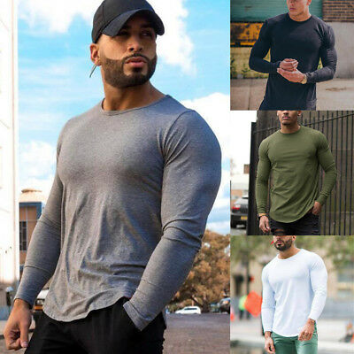Mens Gym Slim Fit Long Sleeve Fitness Muscle Tee Sport T-Shirt BodyBuilding Tops